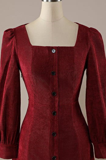 Burgundy Retro Square Neck Corduroy A-Line Dress