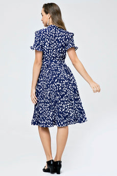 Retro Style Pleated Printed Waist Tie Dress
