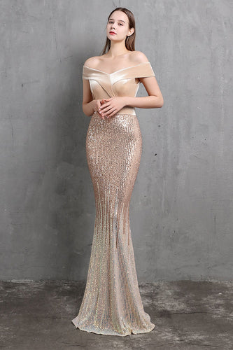 Gold Mermaid Sequin Long Prom Dress
