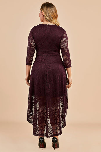 Burgundy High Low Plus Size Lace Dress