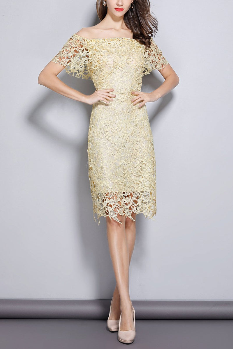 Load image into Gallery viewer, Champagne Off Shoulder Midi Lace Dress
