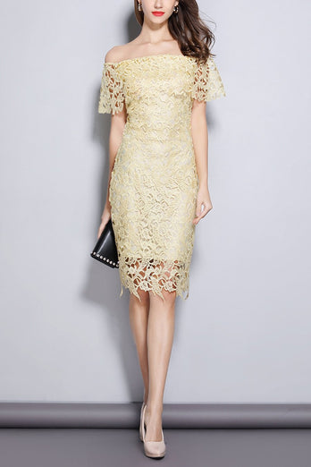 Champagne Off Shoulder Midi Lace Dress