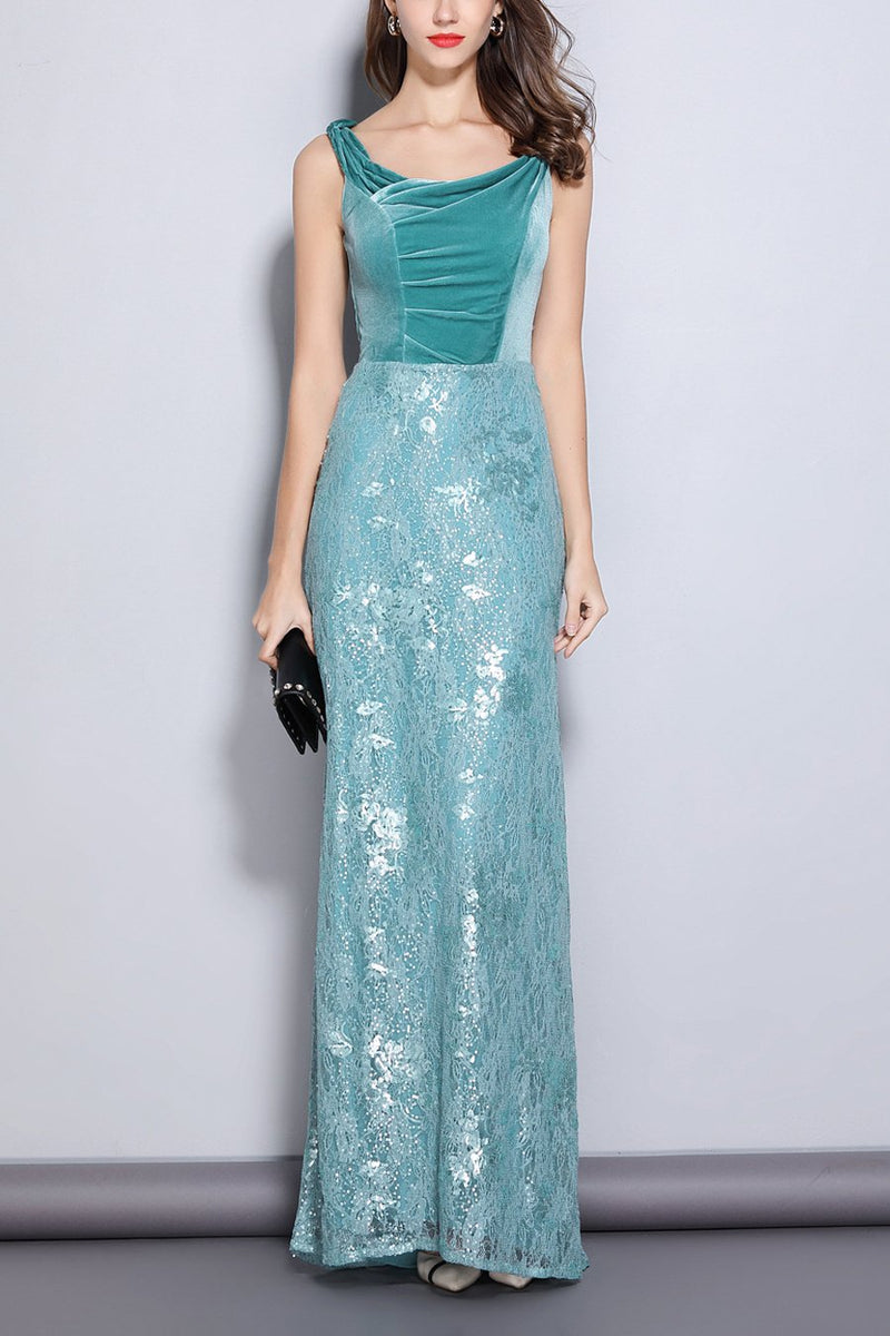 Load image into Gallery viewer, Turquoise Sheath Scoop Neck Lace Velvet Dress
