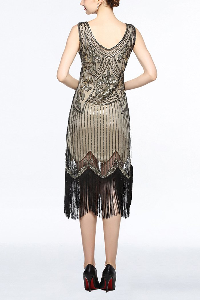Load image into Gallery viewer, Women Gold V Neck 1920s Fringe Sequin Flapper Dress