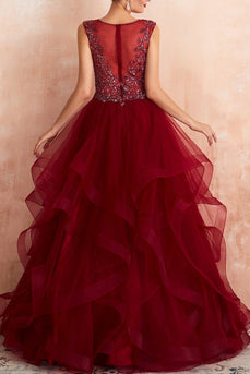 Burgundy Tulle Long Prom Dress
