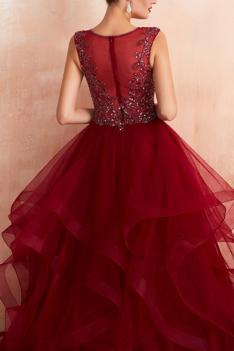 Load image into Gallery viewer, Burgundy Tulle Long Prom Dress