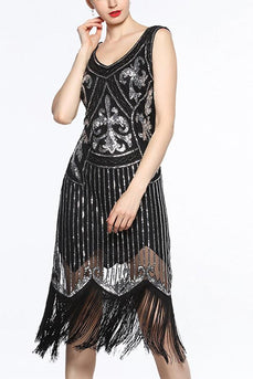 Women Black V Neck 1920s Fringe Sequin Flapper Dress