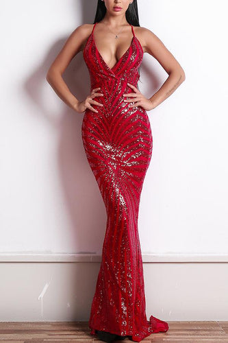 Red Mermaid Evening Dress