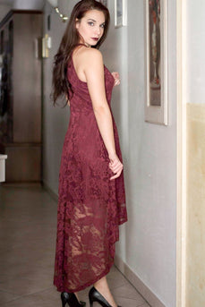 Burgundy Lace Asymmetrical Dress