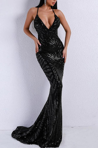 Black Mermaid Evening Dress
