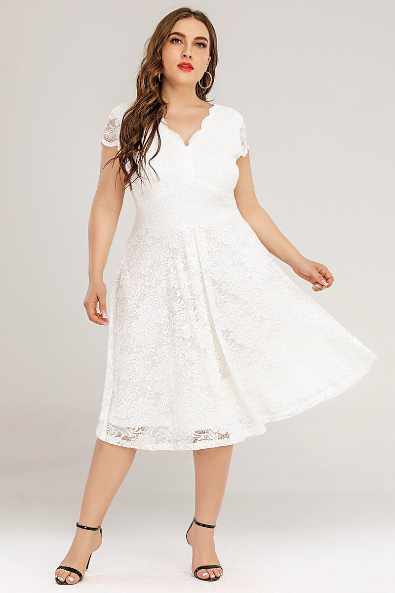 Load image into Gallery viewer, Plus Size White Midi Lace Dress