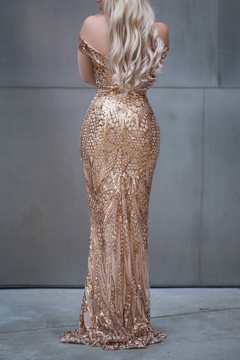 Load image into Gallery viewer, Off Shoulder Gold Mermaid Sequins Dress
