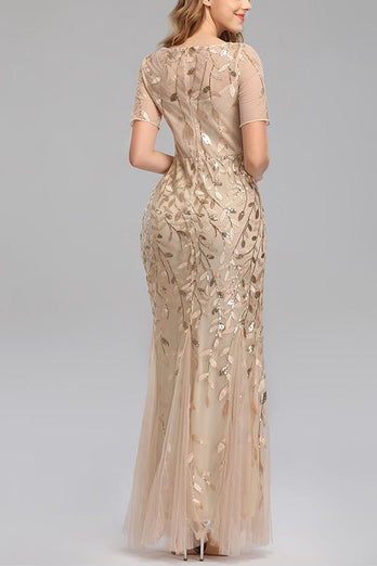 Mermaid Short Sleeves Champagne Prom Dress