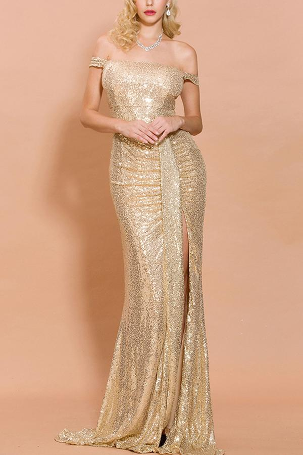 Load image into Gallery viewer, Gold Sequin Memaid Long Prom Dress