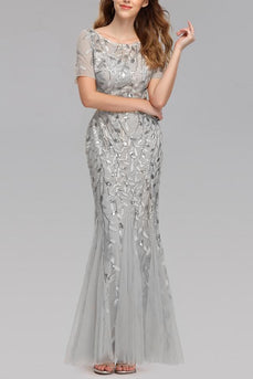 Mermaid Short Sleeves Silver Prom Dress