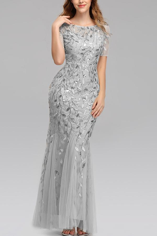 Load image into Gallery viewer, Mermaid Short Sleeves Silver Prom Dress