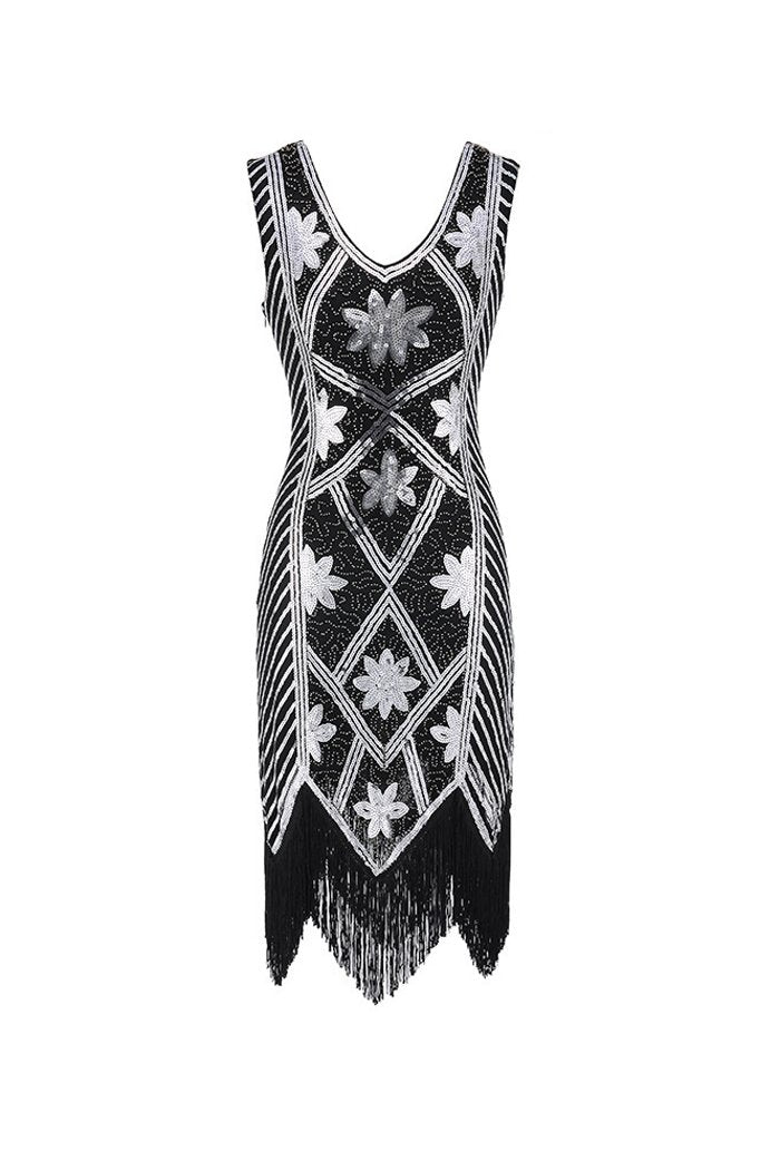 Load image into Gallery viewer, Black Sequins Beaded V-neck 1920s Dress
