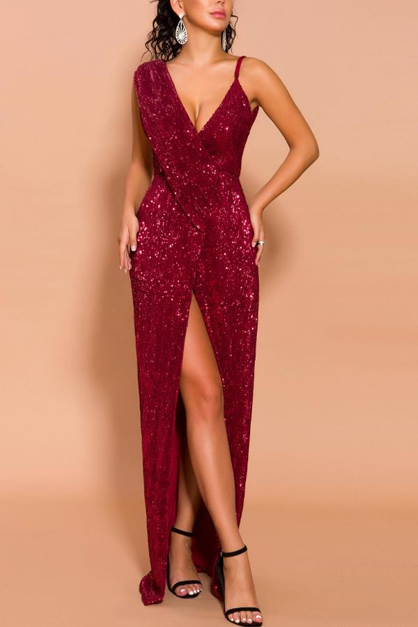 Load image into Gallery viewer, Sexy Burgundy Prom Slit Dress