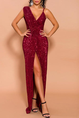 Sexy Burgundy Prom Slit Dress