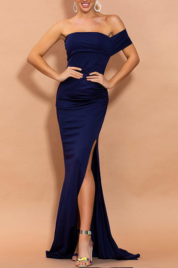 Mermaid Navy Blue One Shoulder Dress with Slit