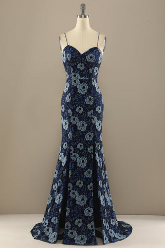 Mermaid Navy Blue Flower Lace Prom Party Dress