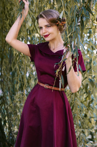Burgundy Button Dress