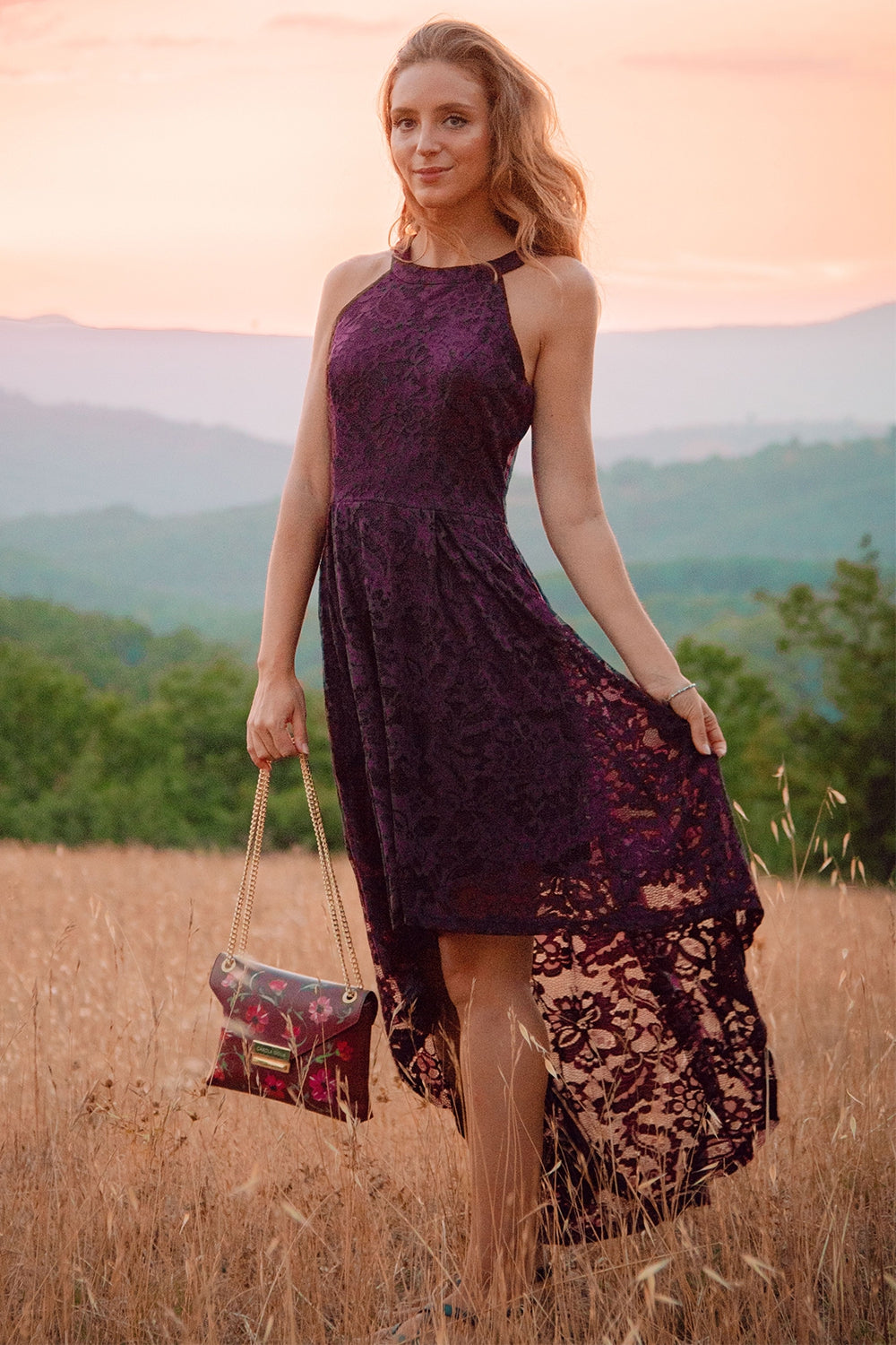 Grape Halter Lace Dress