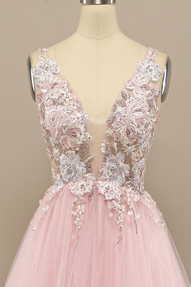 Load image into Gallery viewer, Gorgeous Deep V Neck Grey/Pink Formal Dress with Appliques