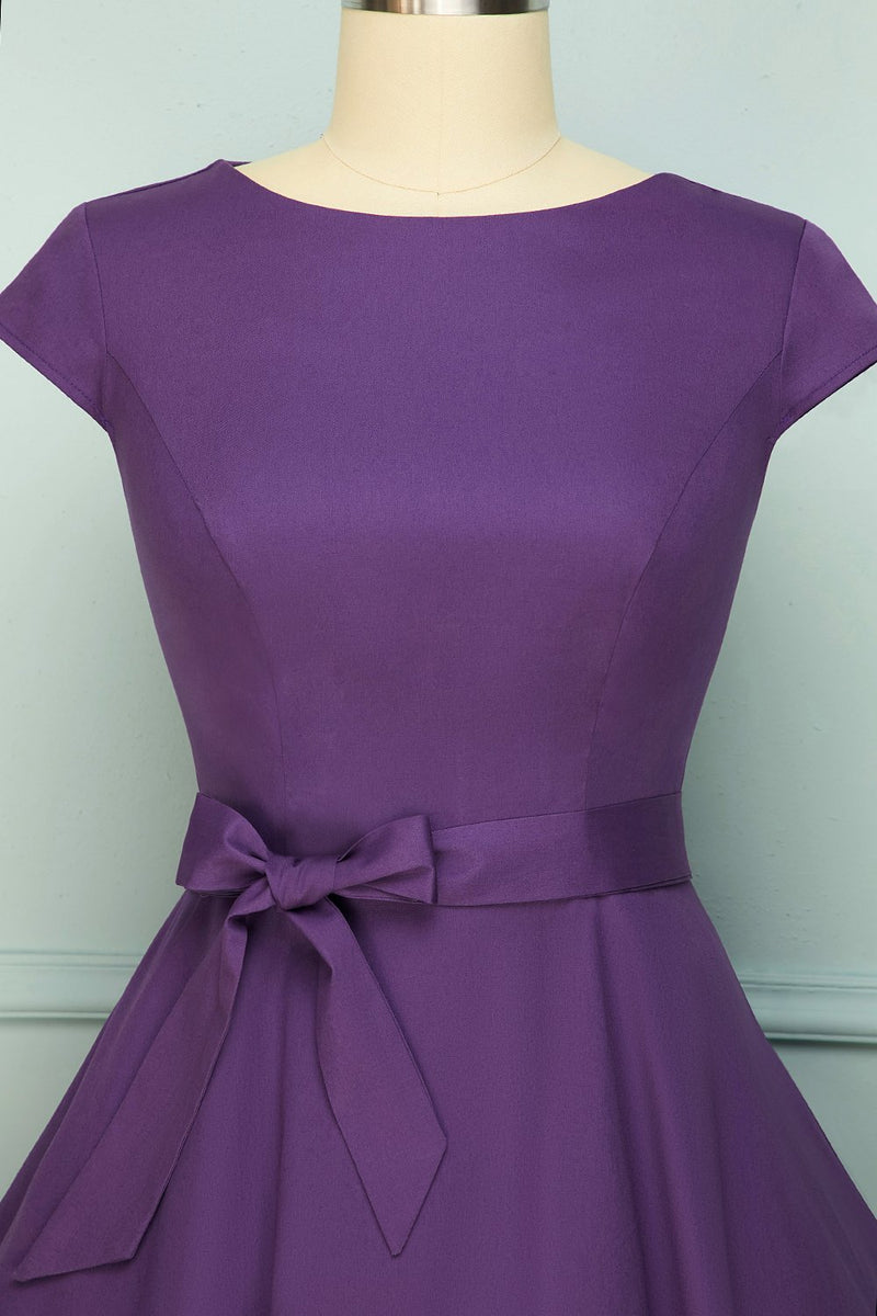 Load image into Gallery viewer, Purple Swing 1950s Dress