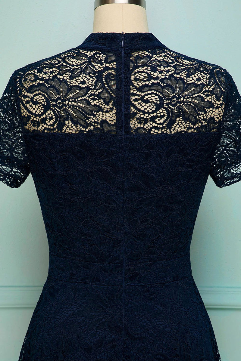Load image into Gallery viewer, Navy High Neck Lace Dress