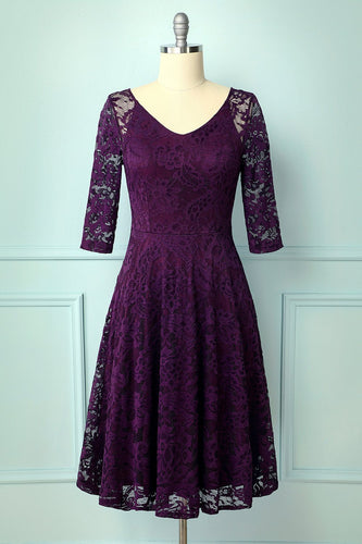 Grape Lace Midi Dress