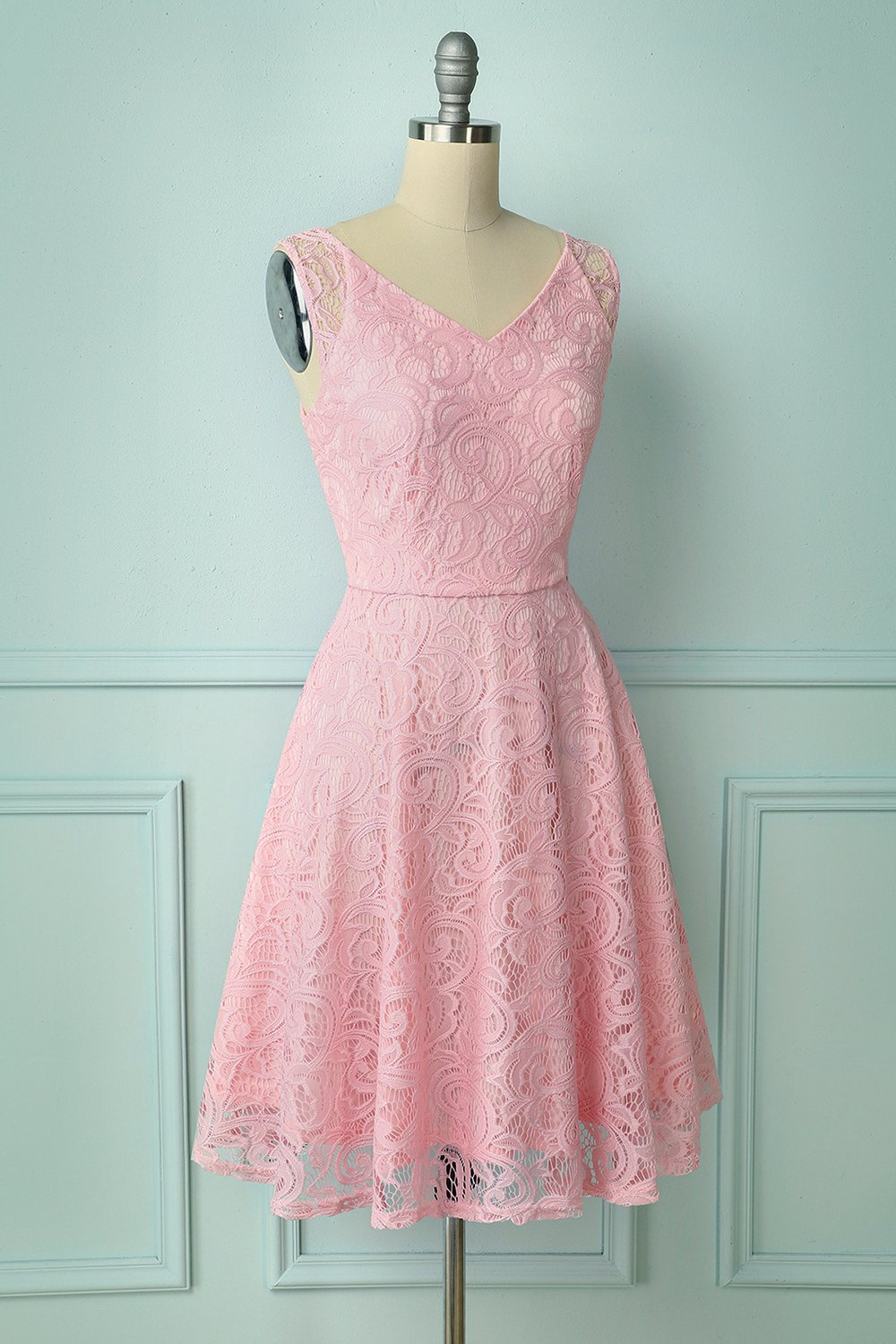 Pink Lace Bridesmaid Dress
