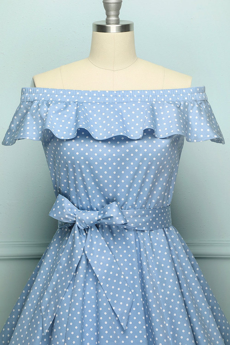 Load image into Gallery viewer, Off-shoulder Polka Dots Dress