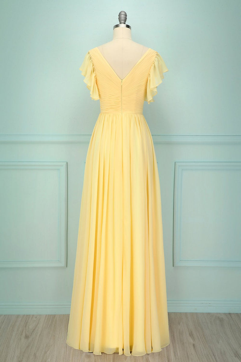 Load image into Gallery viewer, Yellow V-neck Long Dress
