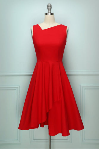 Asymmetrical Red Swing Dress