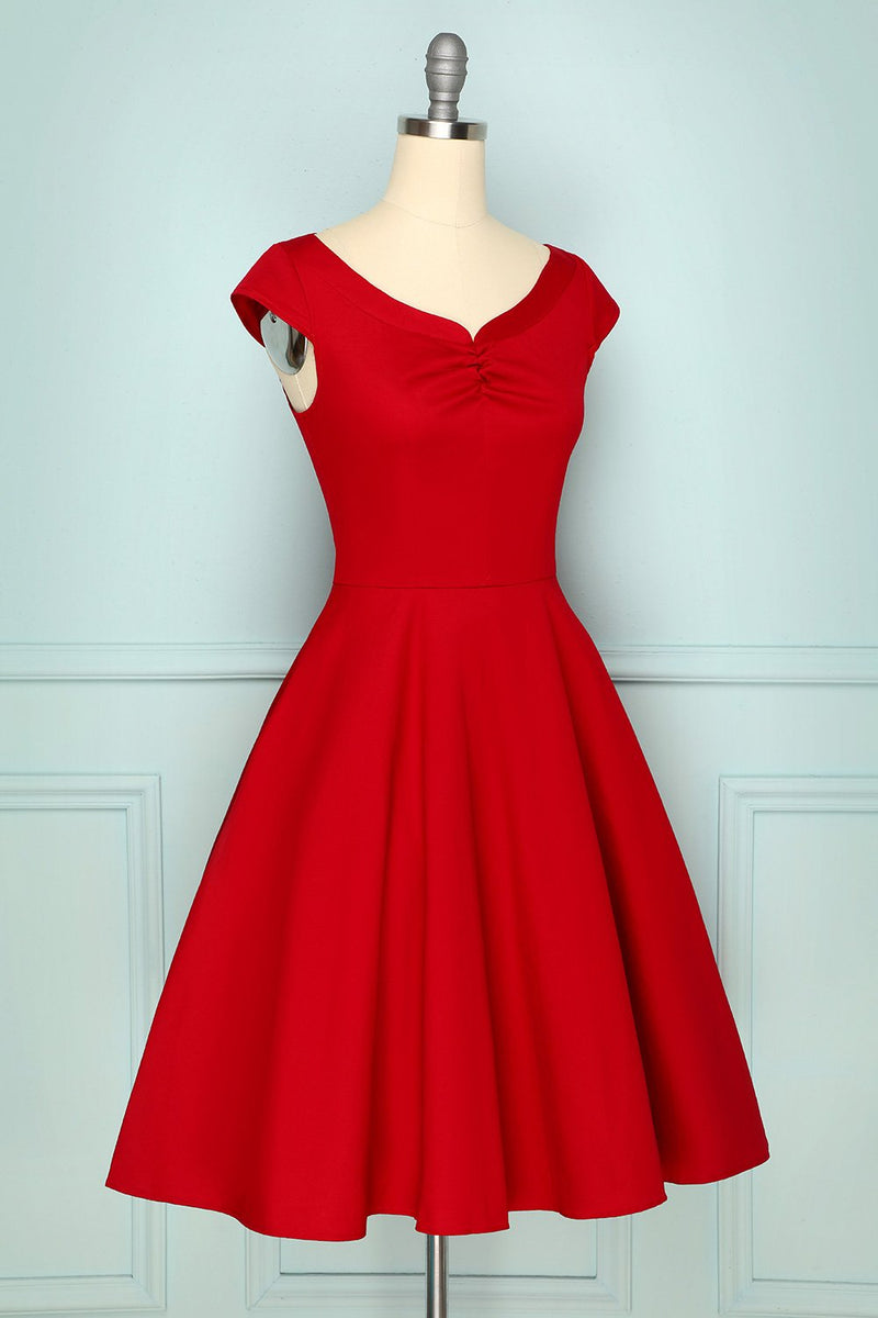 Load image into Gallery viewer, 1950s Dark Red Dress