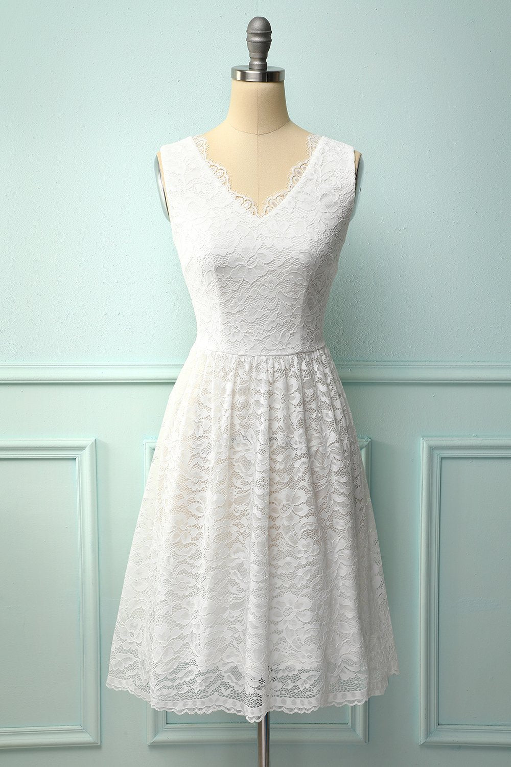 White V-Neck Formal Lace Dress