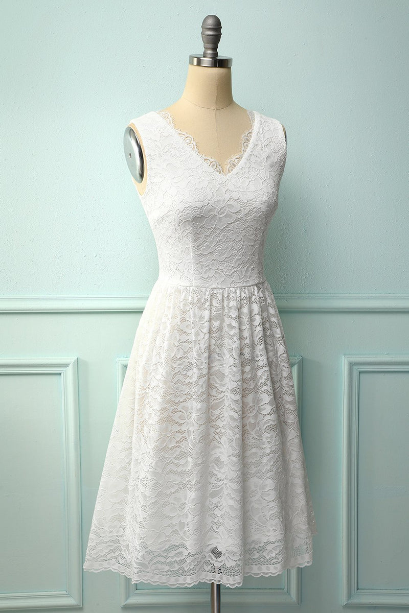 Load image into Gallery viewer, White V-Neck Formal Lace Dress
