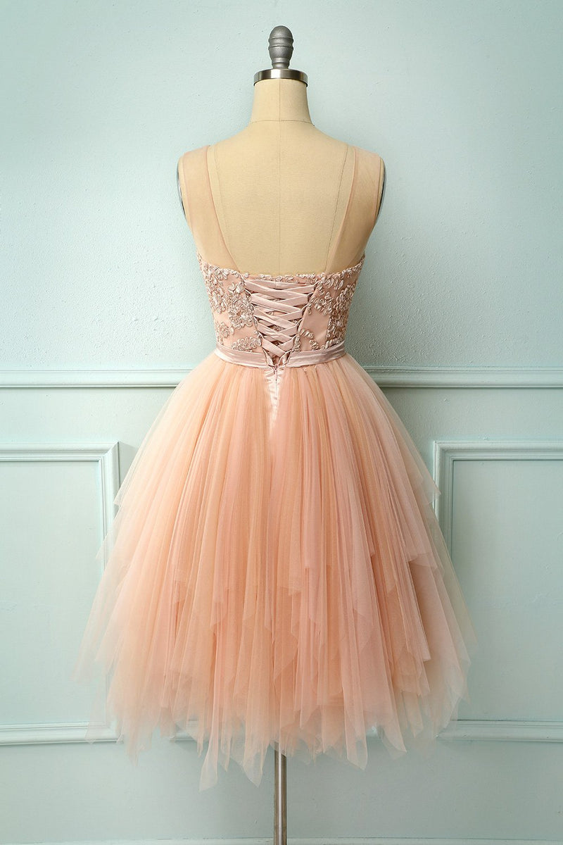 Load image into Gallery viewer, Pink Tulle Homecoming Dress