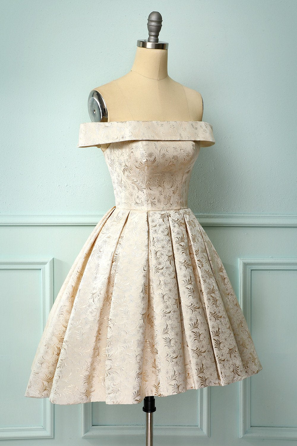 Champagne Floral Homecoming Dress