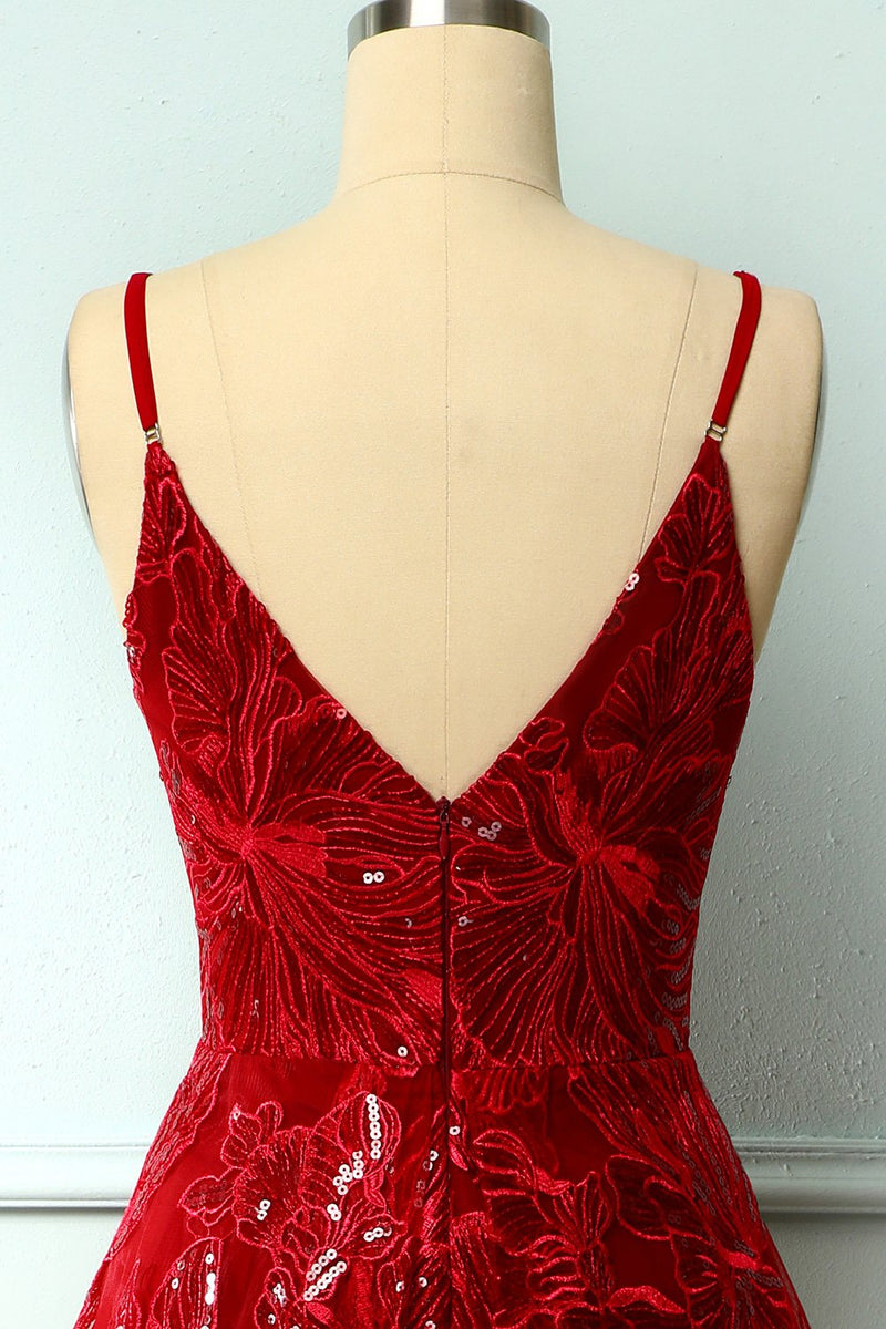 Load image into Gallery viewer, Red Asymmetrical Homecoming Dress