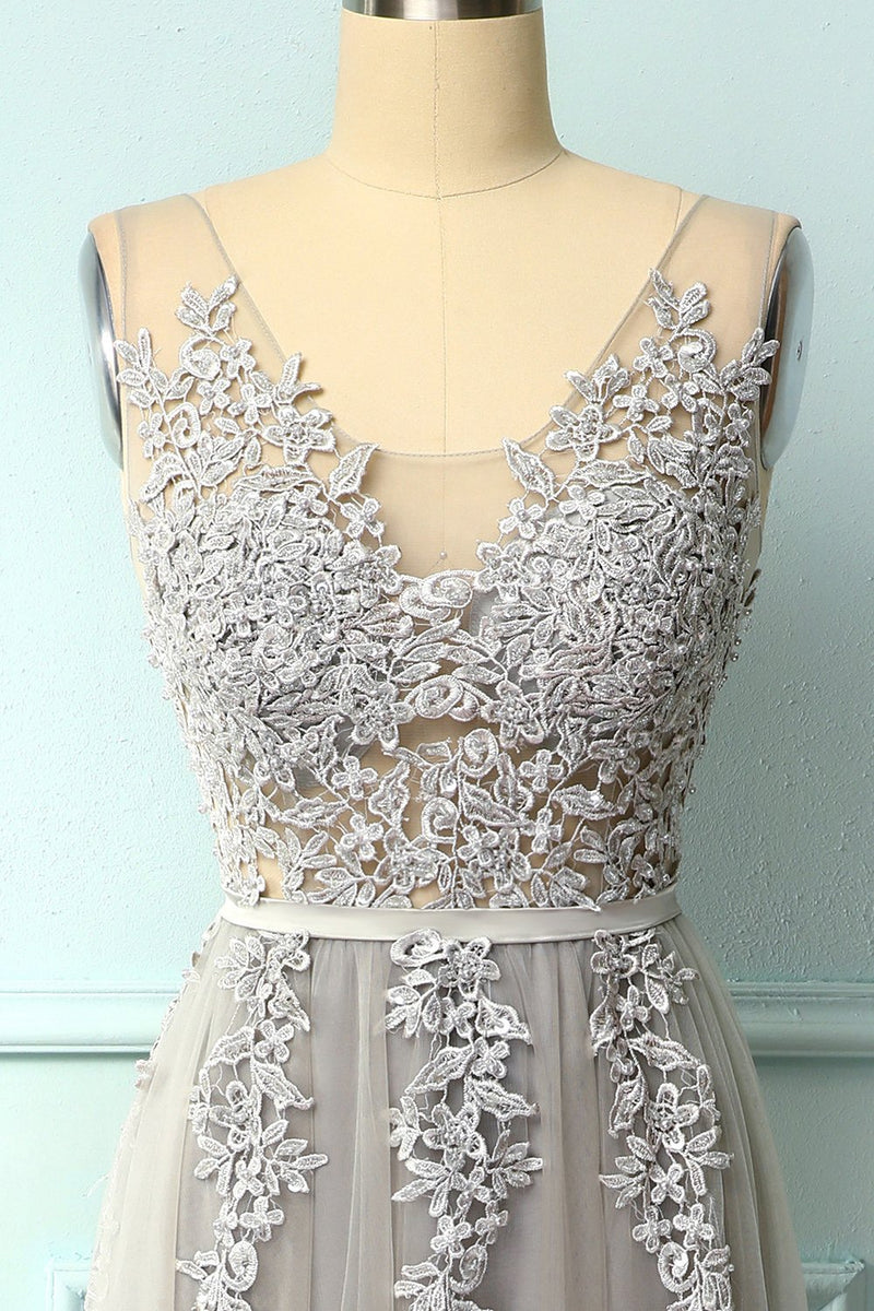 Load image into Gallery viewer, Grey Appliques Prom Dress