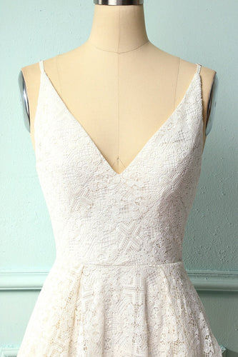 White Asymmetrical Lace Bridesmaid Dress