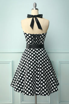 Halter Black White Dots Dress