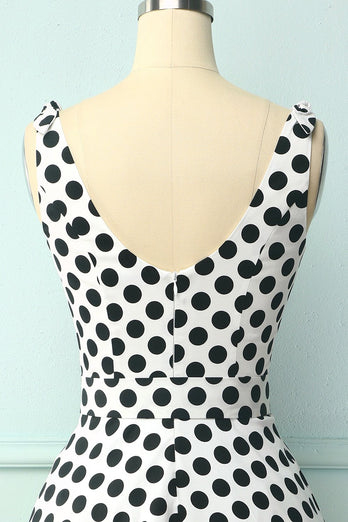 Straps White Black Dots Dress