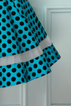 Load image into Gallery viewer, Blue Black Dots Dress with Tulle