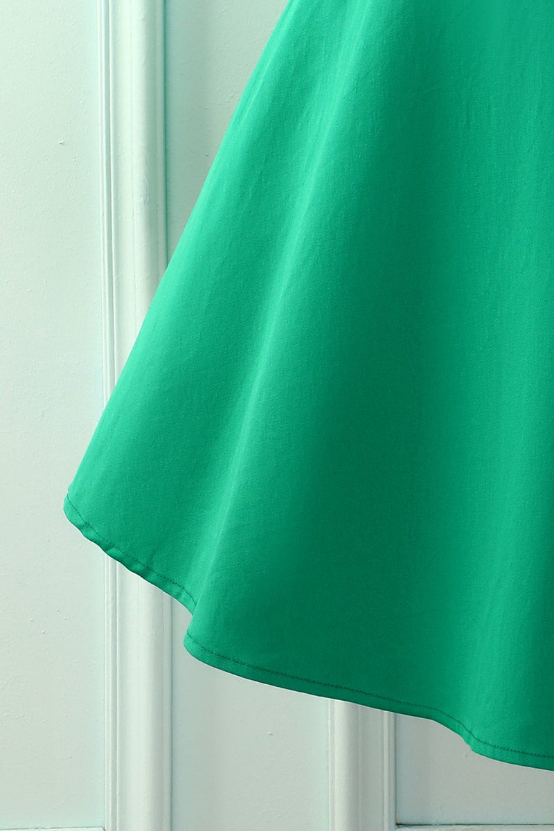 Load image into Gallery viewer, Green Boat Neck 50s Dress
