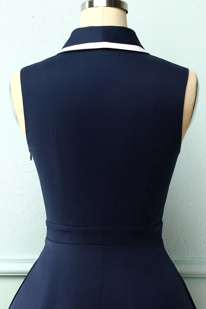 Load image into Gallery viewer, Navy Blue 1950s Style Dress