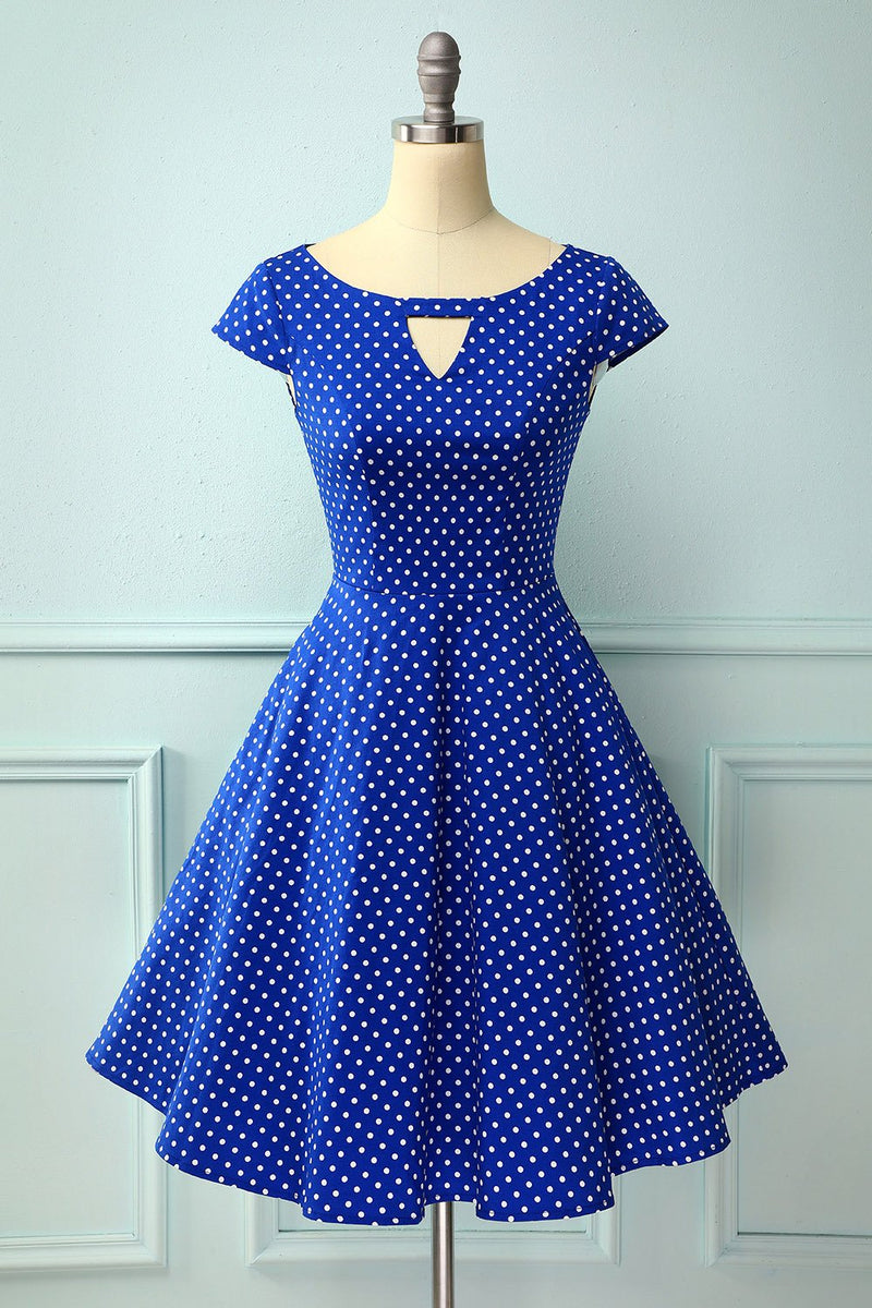 Load image into Gallery viewer, Royal Blue Dress With White Polka Dots