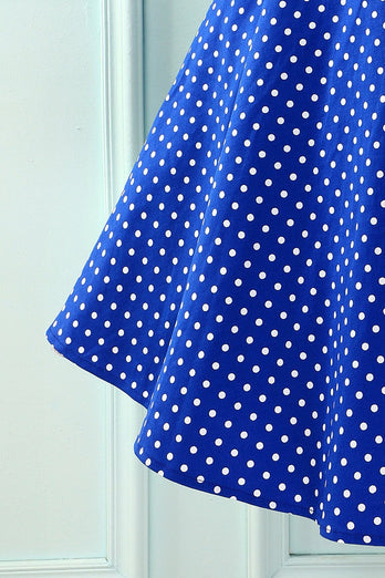 Royal Blue Dress With White Polka Dots